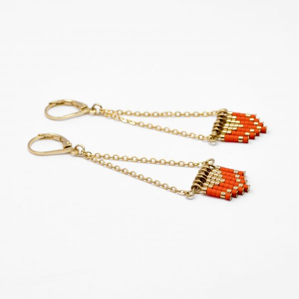 boucles d oreilles triangle sioux orange or