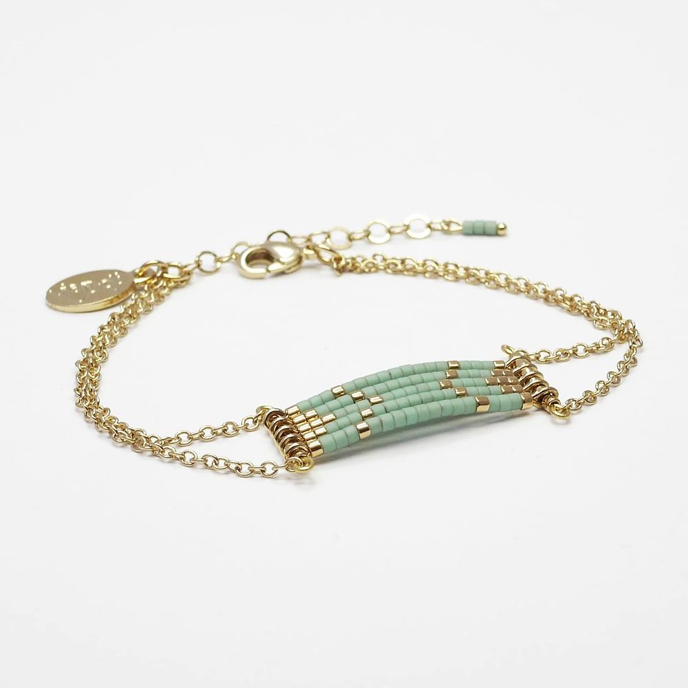 bracelet sioux or vert amande