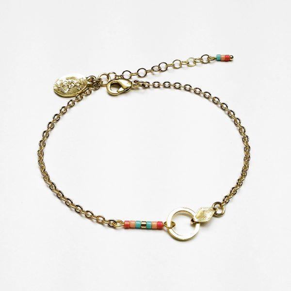 bracelet manou or perle  corail