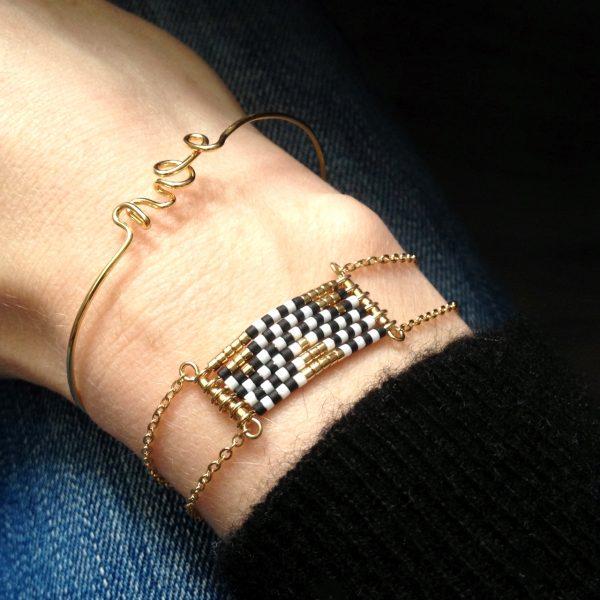 bracelet damier noir