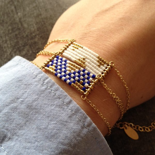 bracelet damier bleu et blanc