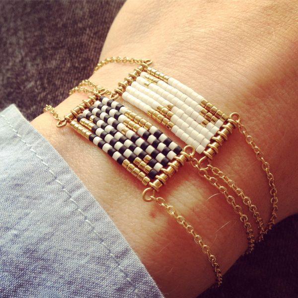 bracelet damier blanc uni