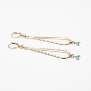 Boucles d'oreilles épis or turquoise